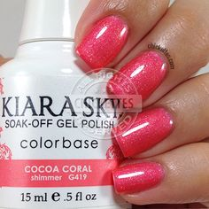 Vernis à ongles Kiara Sky Cacao Coral Kiara S - Summer Nails Colors Coral Gel Nails, Summer Gel Nails, Sky Nails, Spring Nails, Fall Nails, Gel Polish Brands, Gel Polish Colors, Pink Polish, Kiara Sky Gel Polish