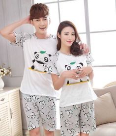 ff1ccaa2d6b00 New Men Women China Giant Panda printing Round Neck Short sleeve Sleepwear  Summer Couple Leisure Pajamas Home Suit. pijamame Store · Couple Pajama Sets