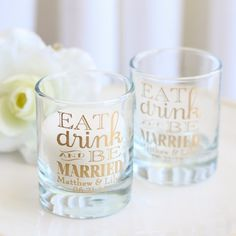 Personalized Eat Drink Be Married Shot Glass Votive Holders