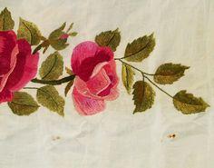 Large Antique Embroidered Needlework Raised Silk Crewel On Cotton Roses Panel 9