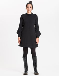 Giovanna Dress / Women / 98% Organic Cotton, 2% EA / 01/ 0002 Nero - Minimal - Re-Bello