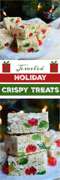These Holiday Jeweled Krispy Treats are great for a last minute Christmas or New Year's dessert. This crispy treat recipe is inspired by fruit cake with a hint of rum flavor and colorful candied fruit! New Year's Desserts, Christmas Desserts, Holiday Treats, Christmas Treats, Christmas Baking, Holiday Recipes, Christmas Recipes, Christmas Cookies, Christmas Dishes
