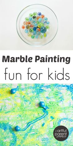 Marble painting for kids is an easy and fun action art activity that results in a wonderfully abstract work of art. Included are ideas for variations.