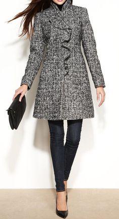 DKNY Wool-Blend Ruffled Walker Coat #sponsored