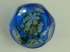 Perthshire Peter McDougall PMcD Blue Flash Overlay Paperweight LE Flowers/Buds