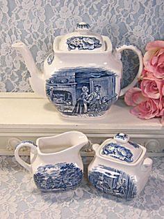 Complete your set...or start a new one! Liberty Blue Staffordshire China England Teapot Cream Sugar Set http://www.tias.com/cgi-bin/item.fcgi?itemKey=3924155741