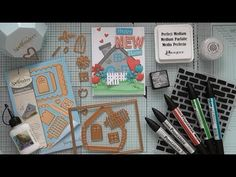 A new home card using the build a house die set from Spellbinders along with a couple of other Die D-Lites Spellbinders sets to create a house topper :. New Home Cards, House Of Cards, Joyous Celebration, Happy New Home, Lawn Fawn, Crystal Drop, Ink Pads, Blank Cards, Free Gifts