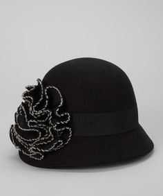 Take a look at this Black Beaded Flower Felted Wool-Blend Cloche by San Diego Hat Company on #zulily today!