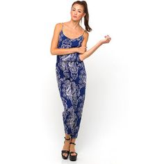 Motel Len Strappy Jumpsuit in Huge Paisley Navy