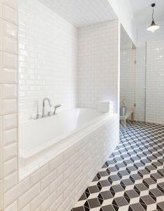 optical illusion geometric pattern floor in a bathroom by Linda Bergroth