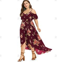 Plus Size Cold Shoulder Floral Maxi Flowing Dress , Fall Bridesmaid Dresses, Fall Dresses, Royal Dresses, Plus Size Casual, Summer Dresses For Women, Summer Outfits, Ladies Dress Design, Dress Brands, Floral