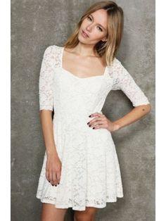 Charming U-Neck Short Sleeves Bobydoll Dress White $17.95 http://www.sensationofnight.com/charming-u-neck-short-sleeves-bobydoll-dress-white-af6679-1.html