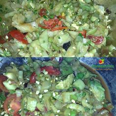 CEVICHE NOODLE FRUIT SALAD made with 1 whole cucumber peeled into noodles, 4 campari tomatoes, 1/2 avocado, prunes, a handful of cilantro, a bit of red onion, 2 celery stalks, 1 cup marinated mung beans, and seasoned with apple cider vinegar, paprika, and organic herbs. Simply delicious  #lowfat #rawvegan #rawveganliving #rawfoodsalad #whatarawveganteeneats #fullyraw