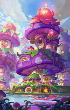 mushroom house by yang sohyeon. Fantasy Art Landscapes, Fantasy Landscape, Fantasy Artwork, Mushroom House, Mushroom Art, Mushroom Ideas, Rpg Map, Anime Scenery, Environmental Art