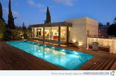 Cozy Outdoor Wood Deck Design Modern House Design With Wooden Deck And Pool Decoration Ideas Swimming Pool Decks, Swimming Pool Designs, Lap Pools, Indoor Pools, Backyard Pools, Large Backyard, Pool Landscaping, Modern Exterior, Exterior Design
