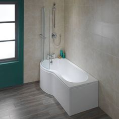 Inspiration bathrooms at affordable prices. Buy your dream bathroom suite online. New Bathroom Ideas, Bathroom Inspiration, P Shaped Bath, Grey Wall Tiles, Towel Rail, Corner Bathtub, Plumbing, New Homes, Shapes