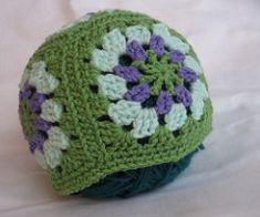 "This is a beautiful hat made from granny squares. Each granny square will measure about 5""."