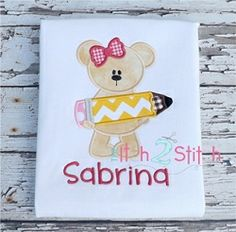 Pencil Bear Girl Applique - 3 Sizes! | back-to-school | Machine Embroidery Designs | SWAKembroidery.com The Itch 2 Stitch