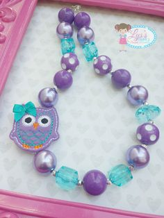 Chunky Bubblegum Beaded Girls Necklace by LysChunkyNecklaces, $17.00