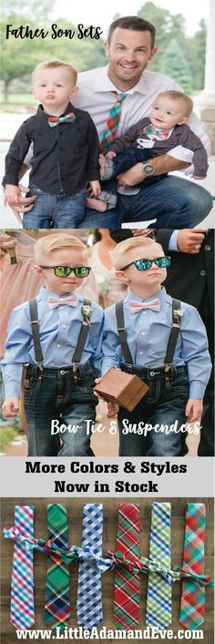 New Father Son Tie Sets Now Available to Ship!! The most adorable Matching Ties and Bowties for Dads & Sons! In Stock Ready to Ship for the Holidays!