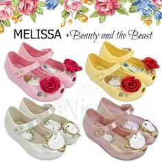 MELISSA + Beauty and the Beast toddler girl shoes available NOW! Beautiful roses or Mrs. Potts and Chip teacup sets...