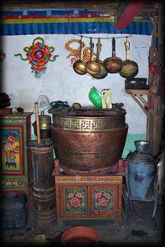 Folklorique: The taste of Petrol and Porcelain | Interior design, Vintage Sets and Unique Pieces www.petrolandporcelain.com Kitchen in Tibet