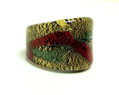 Fall Sale - Marked Down 20% ! #GiftIdeas Pre Holiday Sale !!! Pop Art Glass Ring - Metallic Gold, Red & Green - Retro Extra Wide Band - Vintage  This pop art #Vintage ring from the 1980's is made of glass.  The a... #vintage #jewelry #teamlove #etsyretwt #ecochic #thejewelseeker