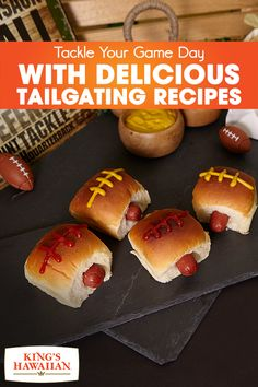 Bring the tailgating party into your home with these Super Bowl-inspired King's Hawaiian Slider Dogs. Made with King Hawaiian's Original Hawaiian Sweet Dinner Rolls, they're sure to take your Game Day party to the next level. Game on!