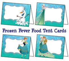 Disney Frozen Fever Food Labels, Frozen Fever Tent Cards, Frozen Fever Birthday Party, Frozen Fever Place Cards - Printable Instant Download