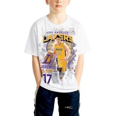 Youth Los Angeles Lakers Jeremy Lin Levelwear White Center Court Name & Number T-Shirt