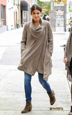 Nikki Reed wearing AllSaints Hoxton Monument Coat in Taupe