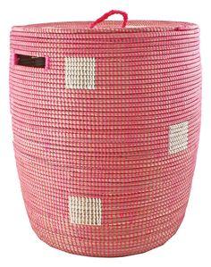 Pink and White Dot Sahara Hamper - Swahili Imports - $80.00 - domino.com
