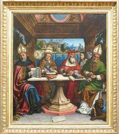 The Four Doctors of the Latin Church / Les Quatre Docteurs de l'Église // Circa 1516 // Pier Francesco Sacchi // #Christianity #Catholicism #Theology