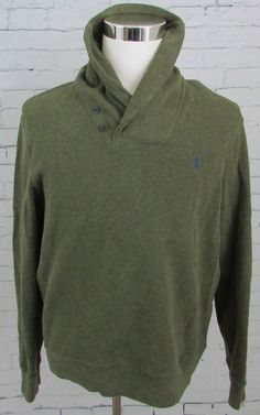 Polo Ralph Lauren Shawl Collar Pullover Cotton Sweater Green Size Large Mens  #PoloRalphLauren #ShawlCollar