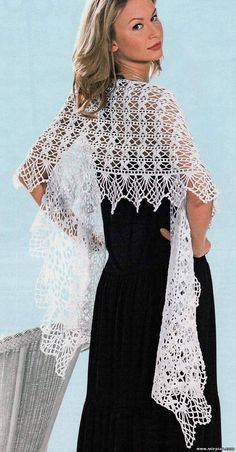 Delicate white shawl with diagram