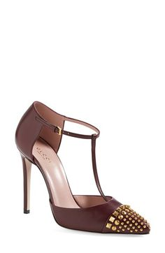 Gucci 'Coline' Studded T-Strap Pump (Women) available at #Nordstrom