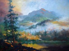 """Big Meadows Lake"" is an original 30 x 40"" oil painting by Micheal W. Jones.  This beautiful impressionist painting was created using the finest…"