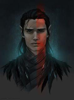 "chartermagic:  ""Vax'ildan.  Half elf rogue, champion of the Raven Queen.  digital. 2017. Laura Tolton  """