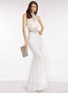 Trumpet Mermaid High Neck Sweep Train Chiffon Prom Dress With Lace Beading