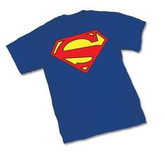 DC New 52 blue t-shirt printed with the Superman Logo.