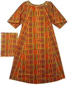 5925d43d242e Women Kente Dress African Dashiki Kaftan Caftan w/ Headpiece Orange Wine 1  Small