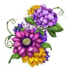 In same serie with 27618349 Illustration of flowers and leaves Hydrangea Flower, My Flower, Flower Art, Illustration Blume, Yellow Tulips, Arte Floral, Corner Designs, Flower Wallpaper, Illustrations