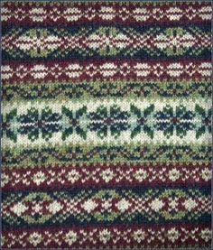 Fair Isle pattern from a great hand-knit sweater creator who actually lives on Shetland Island. Incredibly reasonable prices, too, for them. Love the classic, subdued colours.