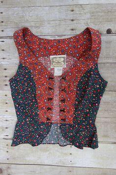 Gunne Sax Jessica's Gunnies red and black calico peplum top.