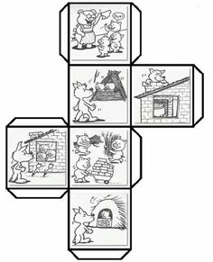 Have students color cut fold and paste to make a story cube that can be used to retell The Three Little Pigs and talk about shapes Leave a comment if you woul. Teaching Reading, Learning, Story Cubes, Story Sequencing, Traditional Tales, Three Little Pigs, Retelling, English Lessons, Book Crafts