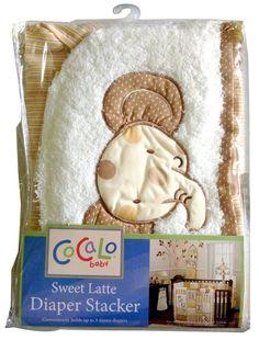 Sweet Latte Diaper Stacker Organizer with beige Elephant design #CoCaLo