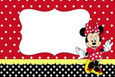 Minnie Red, Black, Yellow and Polka Dots: Free Printable Invitations. Mickey Mouse Y Amigos, Minnie Y Mickey Mouse, Fiesta Mickey Mouse, Mickey Party, Mickey Mouse And Friends, Minnie Mouse Birthday Invitations, Minnie Birthday, Mimi Y Mickey, Disney Scrapbook