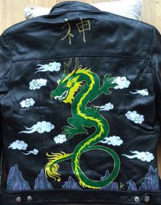 Shen Japanese Dragon Hand Painted Leather by fellfromcorvidia