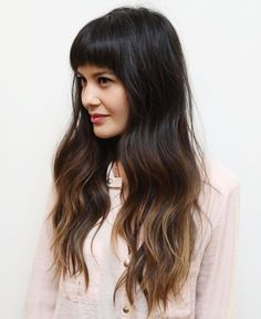 Long Brown Ombre Hair With Arched Bangs