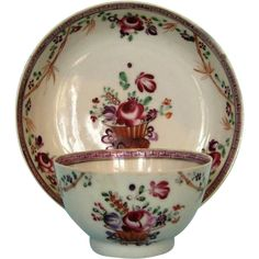 Late 18th Century English Porcelain Tea Bowl and Saucer